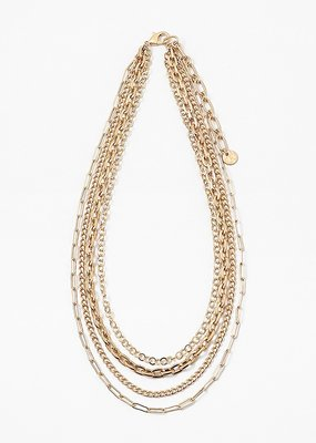 Buffalo Trading Co. Multi Strand Chains Necklace Gold 17""