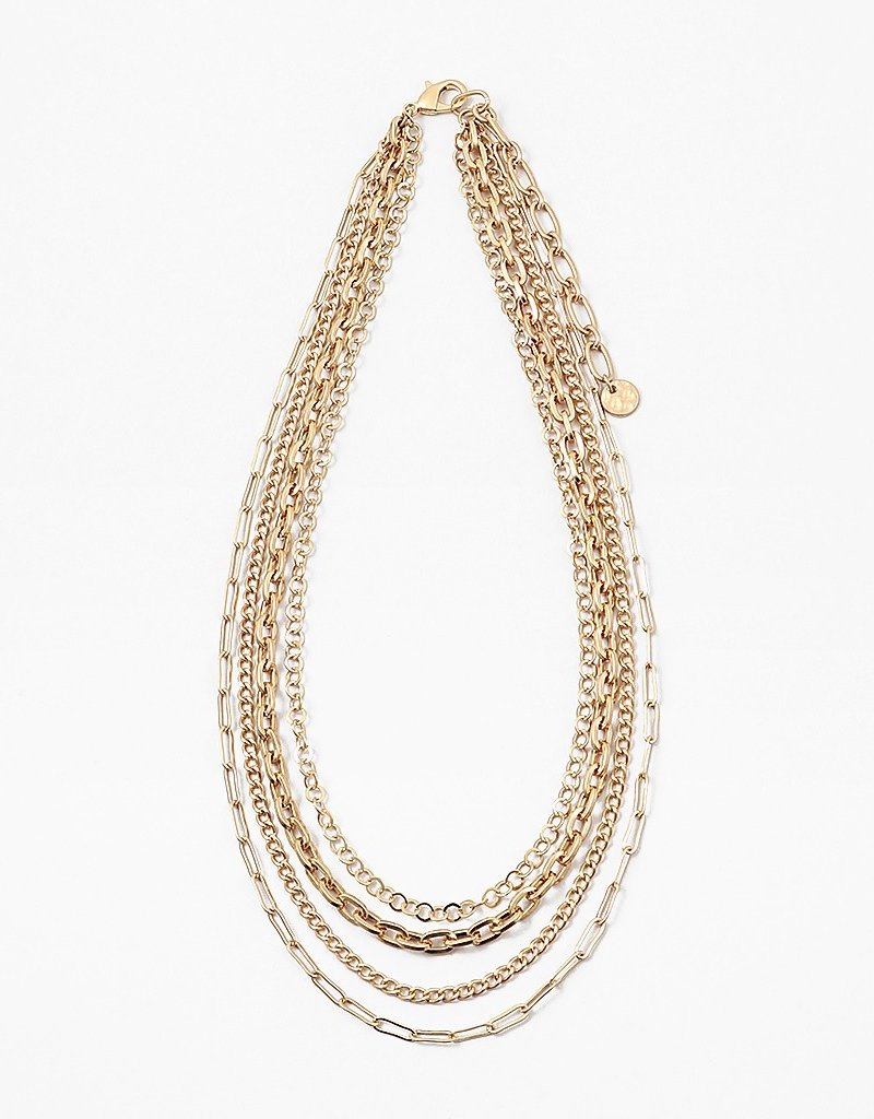 """Buffalo Trading Co. Multi Strand Chains Necklace Gold 17"""""""