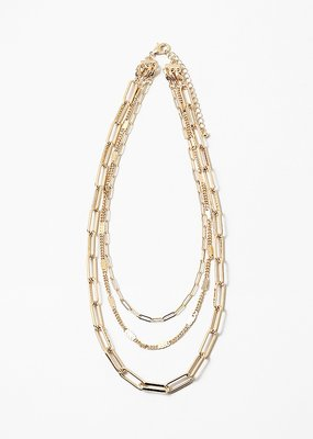 Multi Link Chains Necklace Gold