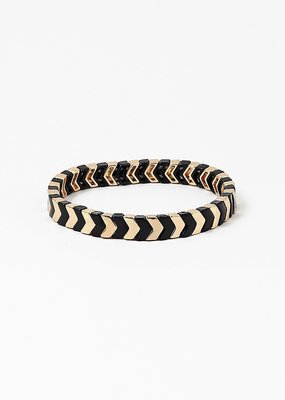 Chevron Color Block Bracelet Gold/Black