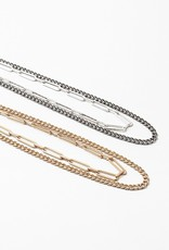 Layered Cuban/Paper Clip Chain Gold