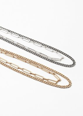 Layered Cuban/Paper Clip Chain Gold