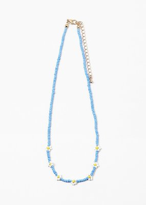 Beaded Necklace Blue Daisy