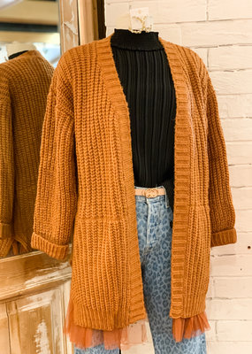 Molly Bracken Tulle Trim Cardigan Sweater