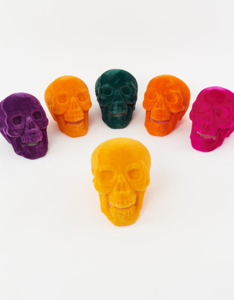 "One Hundred 80 Degrees Velvet Skull 9.5"" Light Orange"