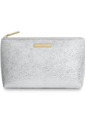 Katie Loxton Mia Make-Up Bag Metallic Silver