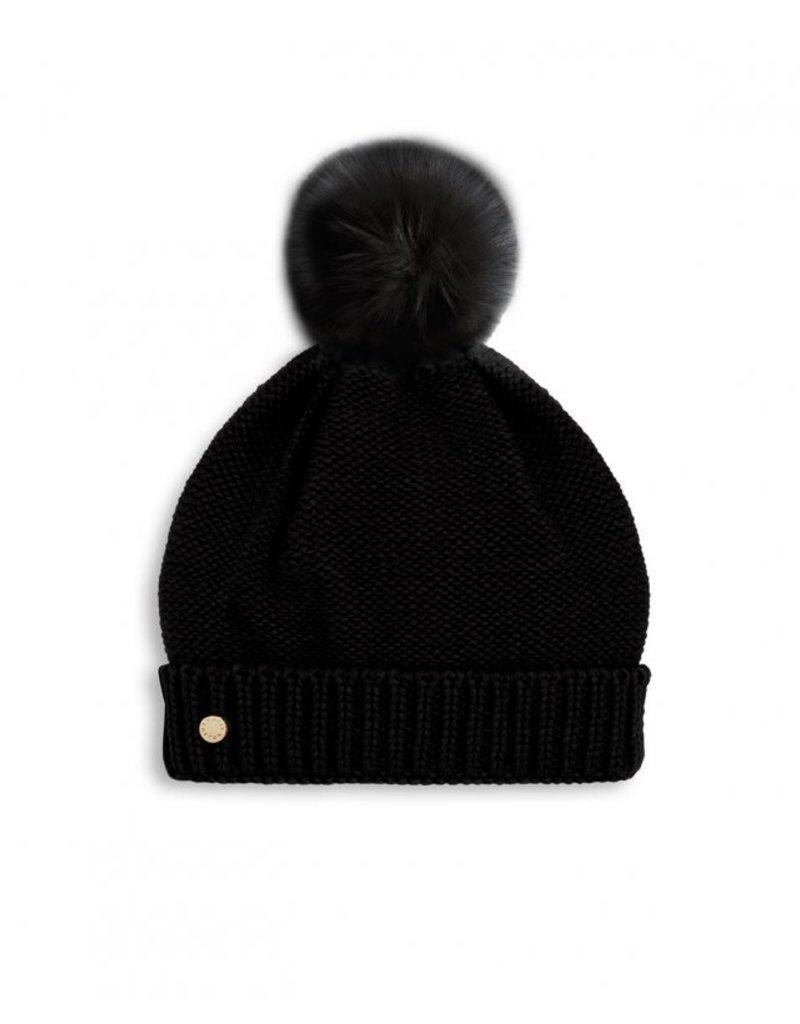 Katie Loxton Fur Bobble Hat Black