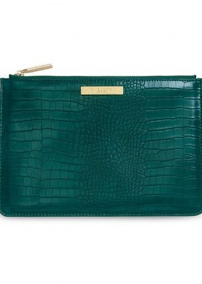 Katie Loxton Celine Faux Croc Perfect Pouch Forest Green