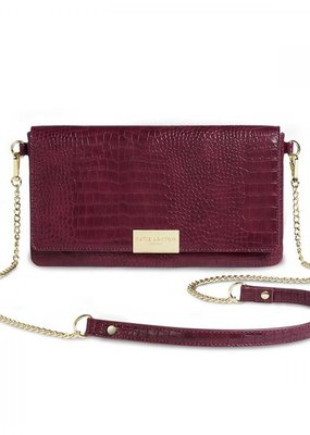 Katie Loxton Celine Faux Croc Fold Over Crossbody Purse Burgundy