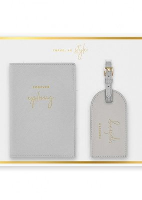 Katie Loxton Boxed Passport Holder and Luggage Tag Set Forever Exploring Gray