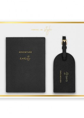 Katie Loxton Boxed Passport Holder  Luggage Tag Set Adventure Awaits Black