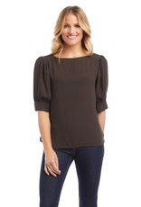Karen Kane Shirred Boatneck Top