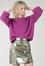 Molly Bracken Cable Knit Puff Sleeve Sweater
