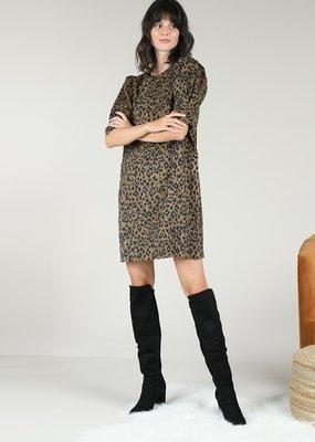 Molly Bracken Leopard Mid Sleeve Dress