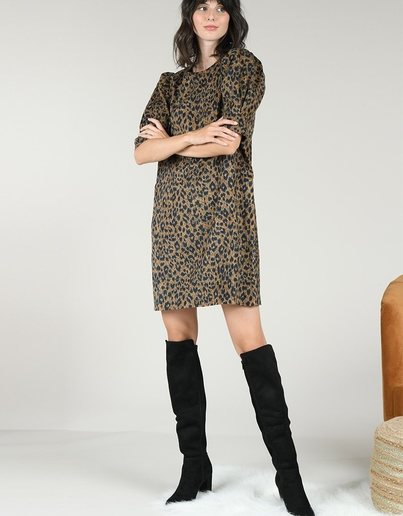 Molly Bracken Leopard Mid Sleeve Dress