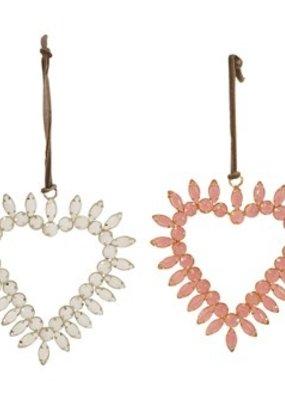 "Creative Co-Op Glass Jeweled Heart Ornament, pink, 4.25"""