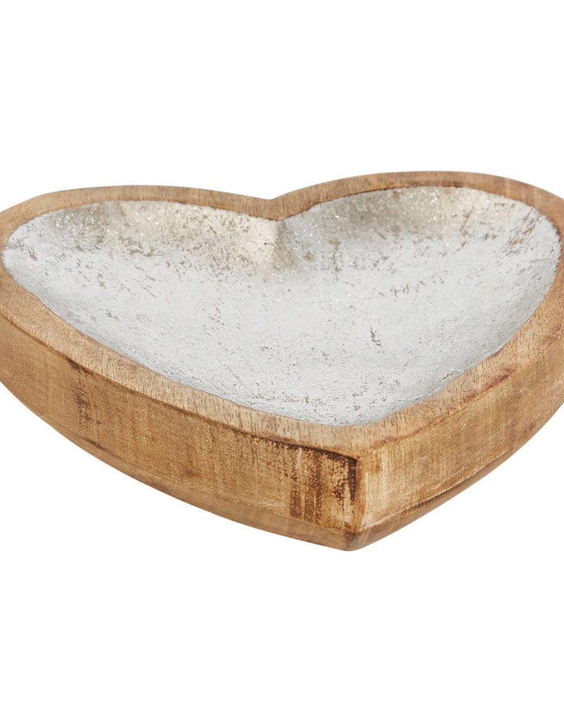 """Creative Co-Op Wood Heart Tray with Silver Finish 7.25"""" x 8"""""""