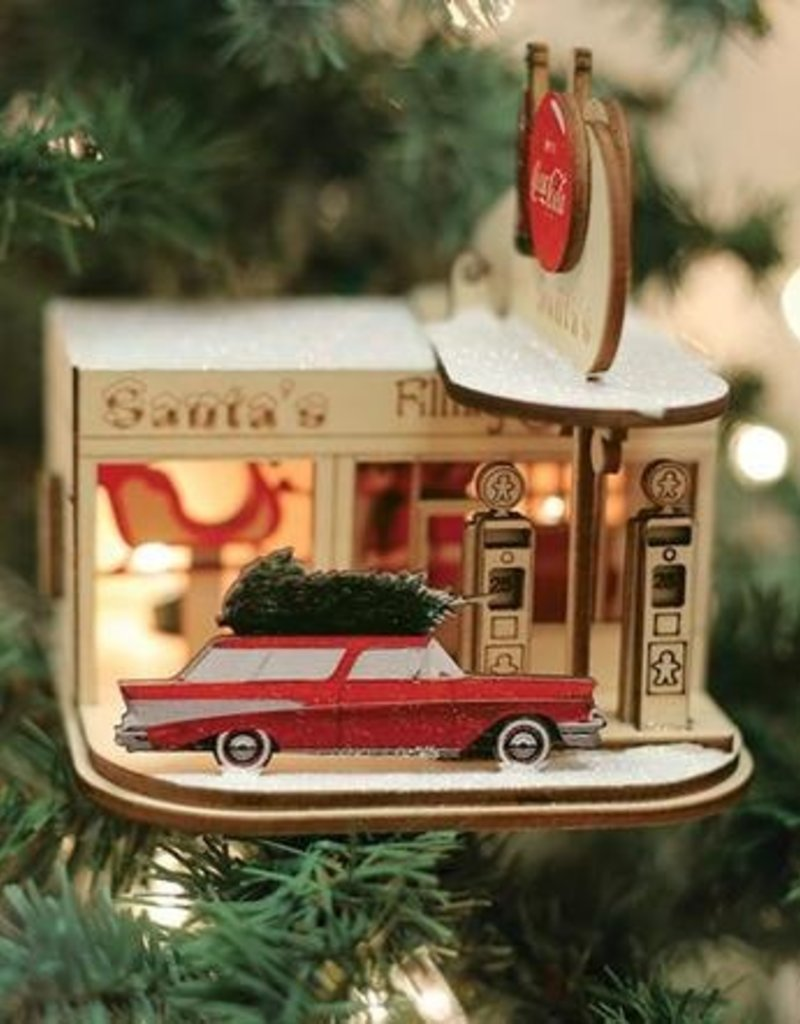 Old World Christmas Cottage Gas Station