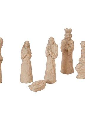 Creative Co-Op Paper Mache Nativity Set of 6