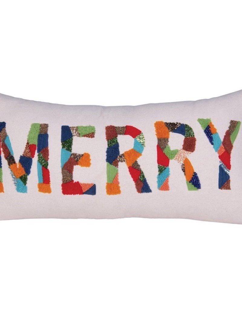 "Creative Co-Op Merry Cotton PIllow Multi 24""x12"""