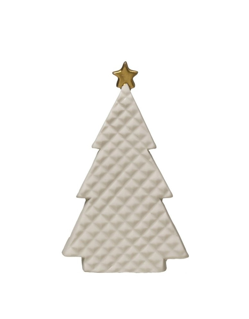 """Creative Co-Op Embossed Porcelain Tree Gold Star 5.5"""""""