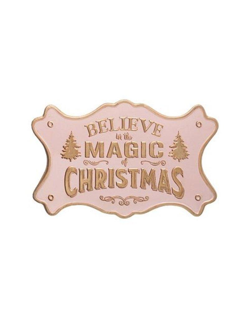 "Creative Co-Op Believe Magic Wall Decor Pink/Gold 20""x13"""