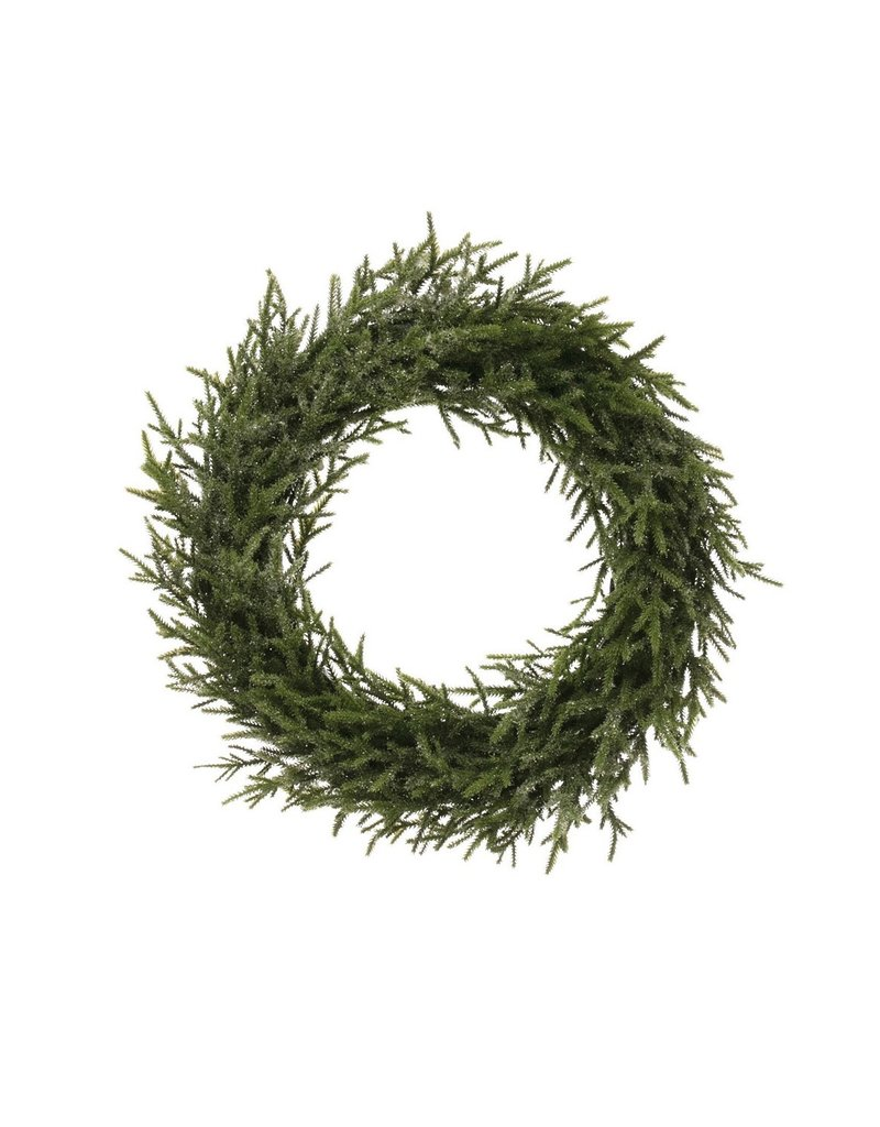 "Creative Co-Op Faux Pine Wreath Ice Finish 16.5"""