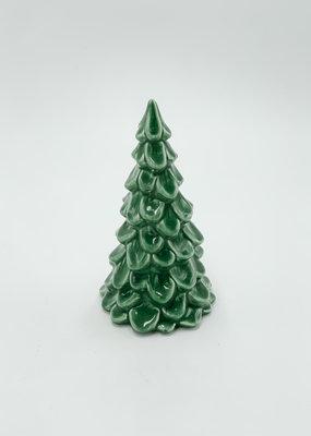 "Creative Co-Op Stoneware Tree Dark Green 5.5"""