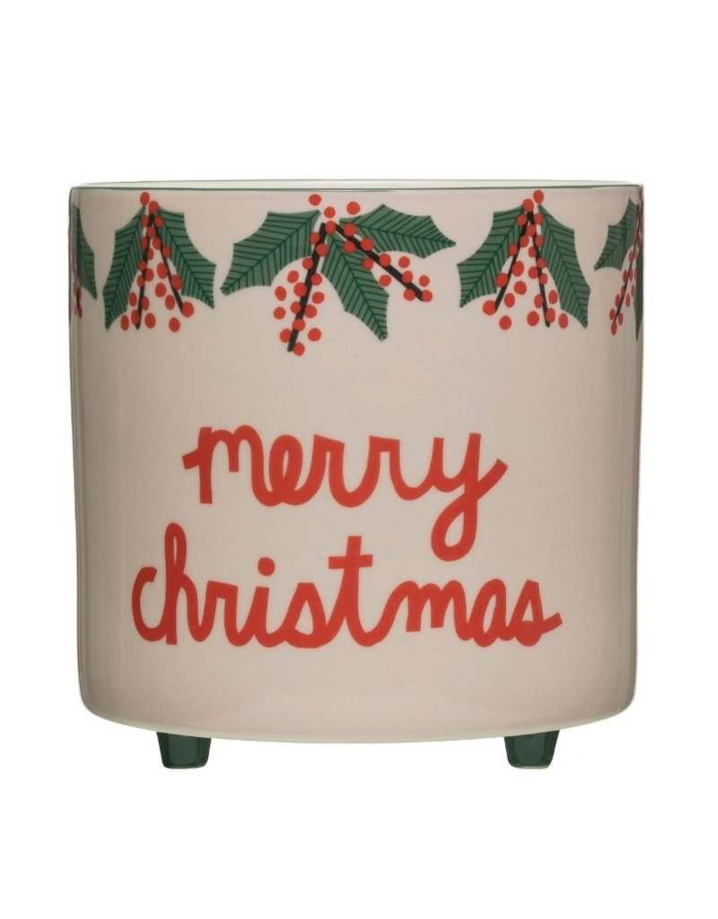 """Creative Co-Op Footed Container Merry Christmas 8"""""""