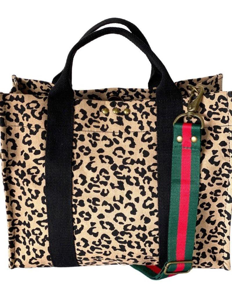 Leopard Canvas Tote W Strap