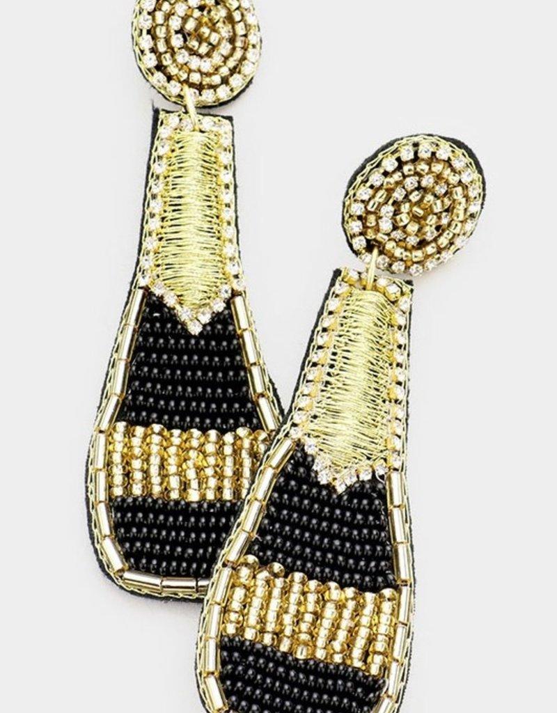 Buffalo Trading Co. Champagne Beaded Earrings, Black