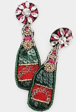Buffalo Trading Co. Champagne Earrings, Red/Green/Pink