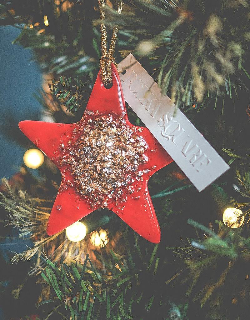 """POLKA SQUARE DESIGN """"Lead us Home"""" Ornament, Red"""