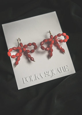 POLKA SQUARE DESIGN Bow Collection Beaded Bow Earring, Red