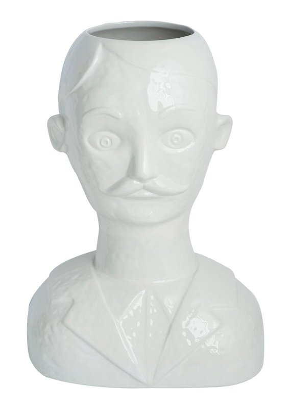 Abigails Male Head Vase White