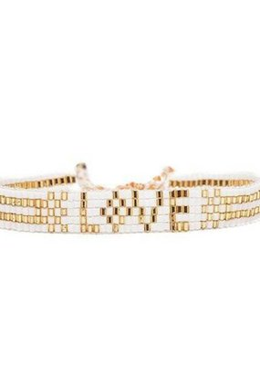 Love Is Project Seed Bead LOVE Bracelet - White & Gold