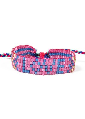 Love Is Project Kids Seed Bead LOVE Bracelet Pink
