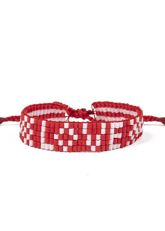 Love Is Project Kids Seed Bead LOVE Bracelet Red