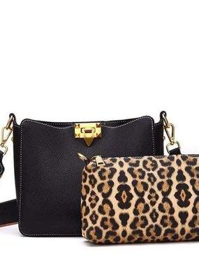 Leopard Purse Set Black