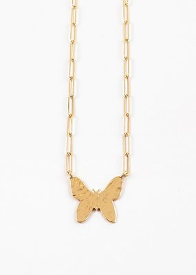 Buffalo Trading Co. Butterfly Away Necklace Gold