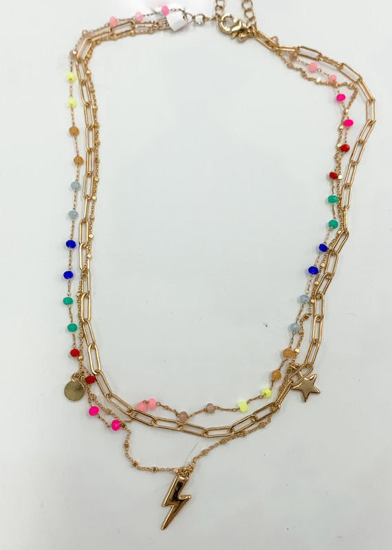Buffalo Trading Co. Neon Lightning Necklace Rainbow/Gold