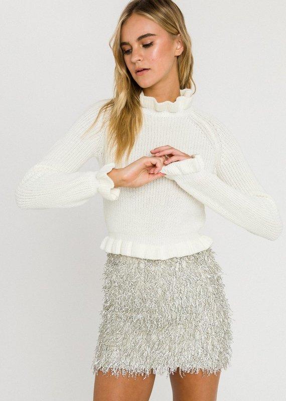 English Factory Ruffle Long Sleeve Sweater