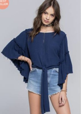 Band of Gypsies Mineral Wash Tier Sleeve Top Navy