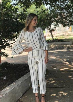 Karen Kane Cuffed Striped Pant
