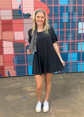 umgee Ruffle Sleeve Pocket Dress