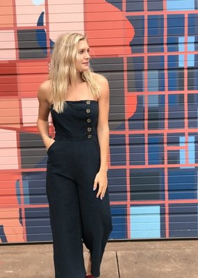 Wild Honey Strapless Jumpsuit with Button Detail