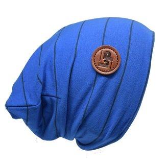 L&P L&P, Boston - Striped Cotton Beanie, Cobalt Blue and Black