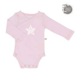 Perlimpinpin Perlimpinpin - Cache-Couche à Manches Longues en Bambou/Long Sleeve Bamboo Onesie, Rose/Pink