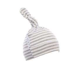 Zak et Zoé Zak et Zoé - Bonnet/Hat, Gris Pâle Ligné Blanc/Light Grey with White Stripes, 0-3 mois/months