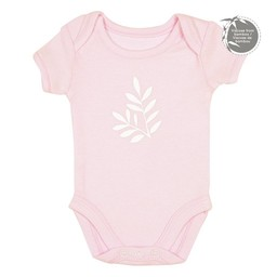 Perlimpinpin Perlimpinpin - Cache-Couche à Manches Courtes en Bambou/Short Sleeve Bamboo Onesie, Rose/Pink